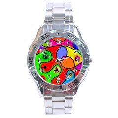 Digitally Painted Patchwork Shapes With Bold Colours Stainless Steel Analogue Watch