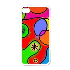 Digitally Painted Patchwork Shapes With Bold Colours Apple iPhone 4 Case (White)