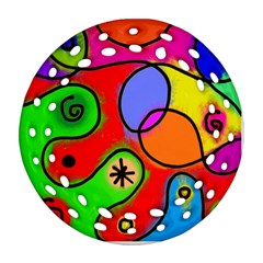 Digitally Painted Patchwork Shapes With Bold Colours Ornament (Round Filigree)