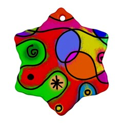 Digitally Painted Patchwork Shapes With Bold Colours Snowflake Ornament (Two Sides)