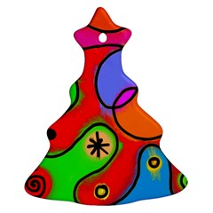 Digitally Painted Patchwork Shapes With Bold Colours Christmas Tree Ornament (Two Sides)