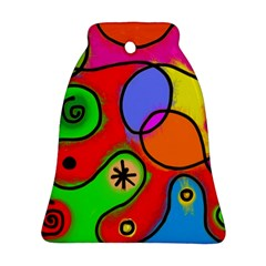 Digitally Painted Patchwork Shapes With Bold Colours Bell Ornament (two Sides)