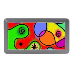 Digitally Painted Patchwork Shapes With Bold Colours Memory Card Reader (mini)
