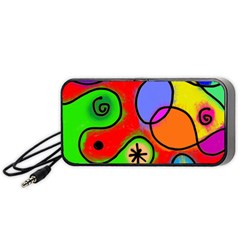 Digitally Painted Patchwork Shapes With Bold Colours Portable Speaker (black)