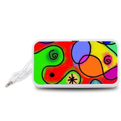Digitally Painted Patchwork Shapes With Bold Colours Portable Speaker (White)