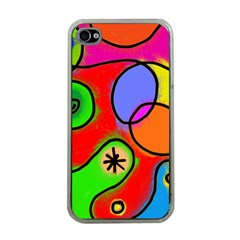 Digitally Painted Patchwork Shapes With Bold Colours Apple iPhone 4 Case (Clear)