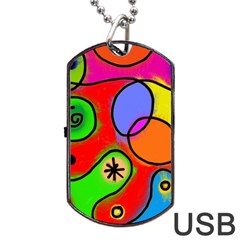 Digitally Painted Patchwork Shapes With Bold Colours Dog Tag USB Flash (One Side)