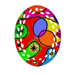 Digitally Painted Patchwork Shapes With Bold Colours Oval Filigree Ornament (two Sides)