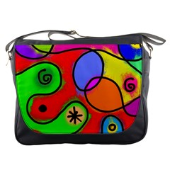 Digitally Painted Patchwork Shapes With Bold Colours Messenger Bags