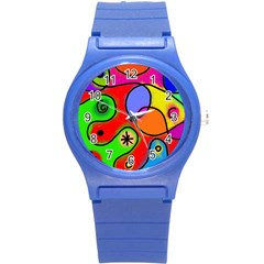 Digitally Painted Patchwork Shapes With Bold Colours Round Plastic Sport Watch (S)