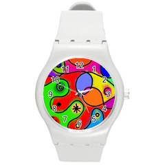 Digitally Painted Patchwork Shapes With Bold Colours Round Plastic Sport Watch (M)