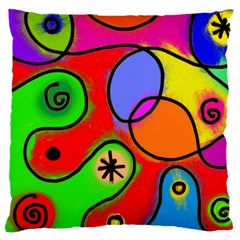 Digitally Painted Patchwork Shapes With Bold Colours Large Cushion Case (Two Sides)