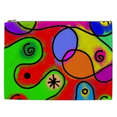 Digitally Painted Patchwork Shapes With Bold Colours Cosmetic Bag (XXL)