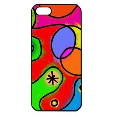 Digitally Painted Patchwork Shapes With Bold Colours Apple Iphone 5 Seamless Case (black)