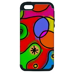 Digitally Painted Patchwork Shapes With Bold Colours Apple iPhone 5 Hardshell Case (PC+Silicone)