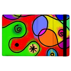 Digitally Painted Patchwork Shapes With Bold Colours Apple Ipad 2 Flip Case