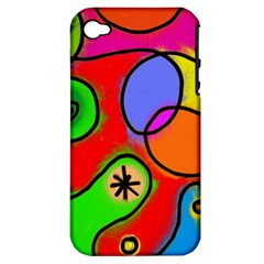 Digitally Painted Patchwork Shapes With Bold Colours Apple iPhone 4/4S Hardshell Case (PC+Silicone)