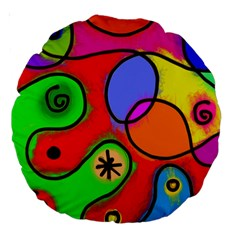 Digitally Painted Patchwork Shapes With Bold Colours Large 18  Premium Round Cushions