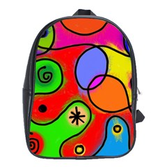 Digitally Painted Patchwork Shapes With Bold Colours School Bags (xl)