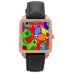 Digitally Painted Patchwork Shapes With Bold Colours Rose Gold Leather Watch