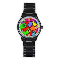 Digitally Painted Patchwork Shapes With Bold Colours Stainless Steel Round Watch