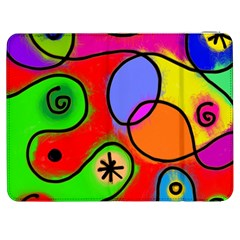 Digitally Painted Patchwork Shapes With Bold Colours Samsung Galaxy Tab 7  P1000 Flip Case