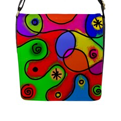 Digitally Painted Patchwork Shapes With Bold Colours Flap Messenger Bag (l)
