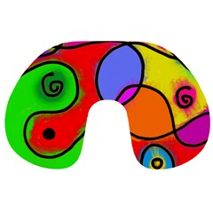 Digitally Painted Patchwork Shapes With Bold Colours Travel Neck Pillows