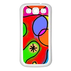 Digitally Painted Patchwork Shapes With Bold Colours Samsung Galaxy S3 Back Case (White)