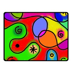 Digitally Painted Patchwork Shapes With Bold Colours Double Sided Fleece Blanket (small)