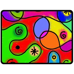 Digitally Painted Patchwork Shapes With Bold Colours Double Sided Fleece Blanket (large)