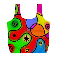 Digitally Painted Patchwork Shapes With Bold Colours Full Print Recycle Bags (L)