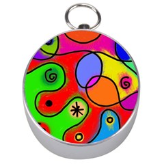 Digitally Painted Patchwork Shapes With Bold Colours Silver Compasses