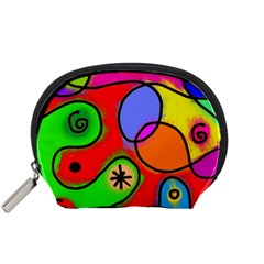 Digitally Painted Patchwork Shapes With Bold Colours Accessory Pouches (Small)