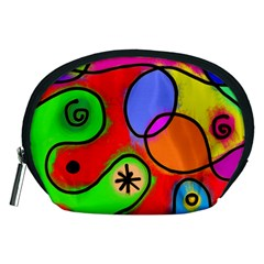 Digitally Painted Patchwork Shapes With Bold Colours Accessory Pouches (medium)