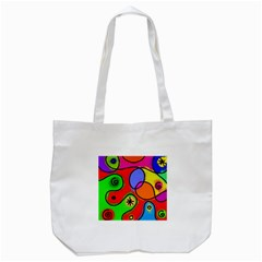 Digitally Painted Patchwork Shapes With Bold Colours Tote Bag (White)