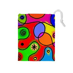 Digitally Painted Patchwork Shapes With Bold Colours Drawstring Pouches (Medium)