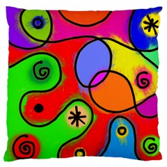 Digitally Painted Patchwork Shapes With Bold Colours Standard Flano Cushion Case (One Side)
