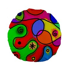 Digitally Painted Patchwork Shapes With Bold Colours Standard 15  Premium Flano Round Cushions