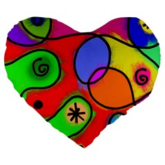 Digitally Painted Patchwork Shapes With Bold Colours Large 19  Premium Flano Heart Shape Cushions