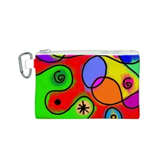Digitally Painted Patchwork Shapes With Bold Colours Canvas Cosmetic Bag (s)