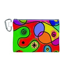 Digitally Painted Patchwork Shapes With Bold Colours Canvas Cosmetic Bag (m)