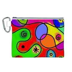 Digitally Painted Patchwork Shapes With Bold Colours Canvas Cosmetic Bag (L)