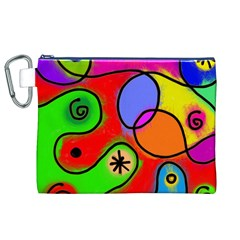 Digitally Painted Patchwork Shapes With Bold Colours Canvas Cosmetic Bag (XL)