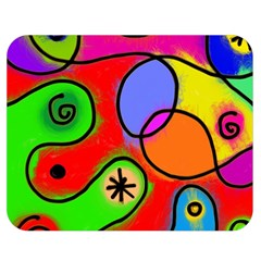 Digitally Painted Patchwork Shapes With Bold Colours Double Sided Flano Blanket (Medium)