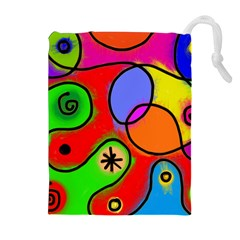 Digitally Painted Patchwork Shapes With Bold Colours Drawstring Pouches (Extra Large)