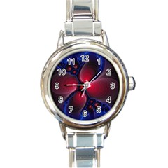 Color Fractal Pattern Round Italian Charm Watch