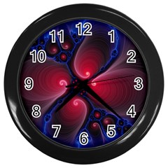 Color Fractal Pattern Wall Clocks (Black)