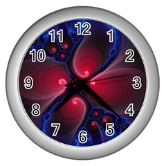 Color Fractal Pattern Wall Clocks (Silver)