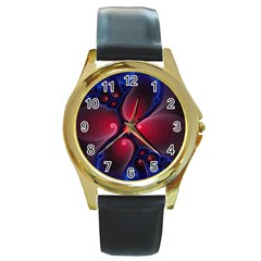 Color Fractal Pattern Round Gold Metal Watch